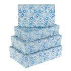 "Набор коробок 4в1 ""Голубые цветы"" 30 х 20 х 8 - 24 х 14 х 5 см"