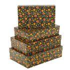 """Набор коробок 4в1 """"Цветы на черном"""", 30 х 20 х 8 - 24 х 14 х 5 см"""