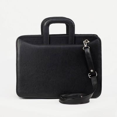 """Сумка-портфель мужская на молнии """"Карьера"""", 2 отдела, длинный ремень, цвет чёрный"""