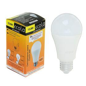 Лампа светодиодная Ecola, А60, Е27 15 Вт, 2700 К, 120 х 60 мм, матовый шар