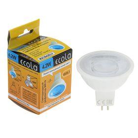 Лампа светодиодная Ecola, GU5.3, MR16, 4.2 Вт, прозрачное стекло, синий свет