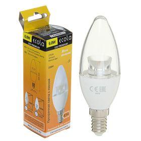 Лампа светодиодная Ecola candle, Е14, 6Вт, 220В, 2700K, 105x35 мм, прозрачная свеча с линзой