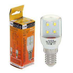 Лампа светодиодная Ecola, E14, T25, 1.1Вт, 4000K, 340°, для холод-ов/швейных машин, 63x25 мм