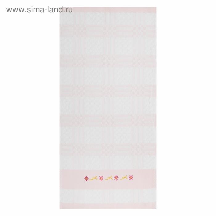 Полотенце махровое «Вышитый цветок», размер 25х50 см, цвет розовый, 340 г/м²