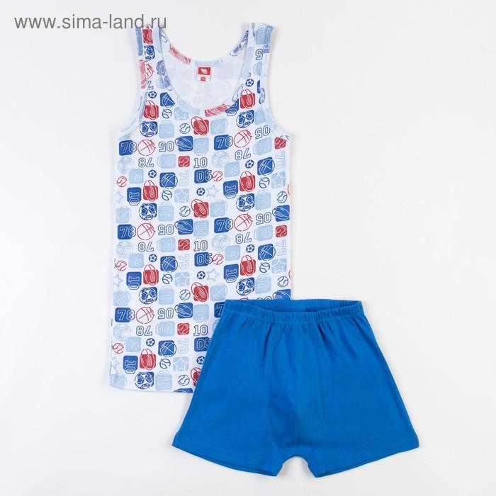 Комплект для мальчика (майка, трусы-боксеры), рост 134 см (68), цвет синий CAJ 3340