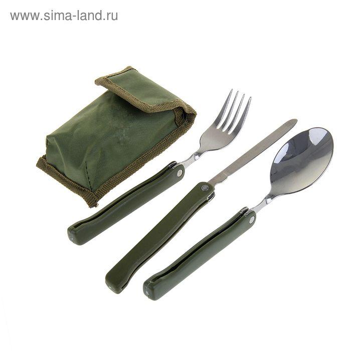 Набор туриста 3в1: ложка, вилка, нож в чехле