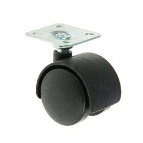 Колесо мебельное на площадке, d=30 мм, пластик, черное