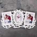 """Часы настенные """"Веточка"""", белые + 2 фоторамки 10 × 15 см"""