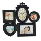 """Часы настенные """"Сердце и круг"""", чёрные + 4 фоторамки: 10 × 10 см (3 шт.) и 10 × 15 см"""