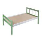 Детская кроватка «Стандарт» из массива, цвет серый-зелёный