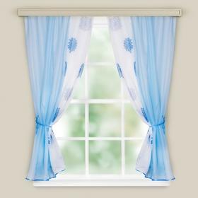 Комплект штор для кухни Арина голубой вуаль однотон,вуаль-печать, принт микс, 240х160, п/э