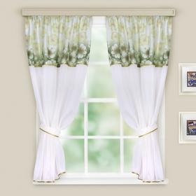Комплект штор для кухни Кристалл  280х160 см, зеленый органза , принт МИКС, вуаль однотон. п/э   185