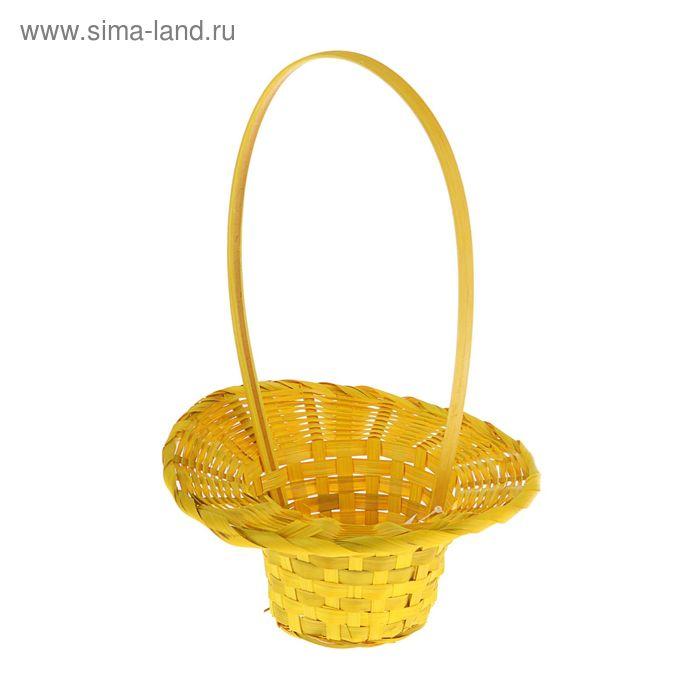 Корзина плетёная, бамбук, жёлтая, (шляпка)
