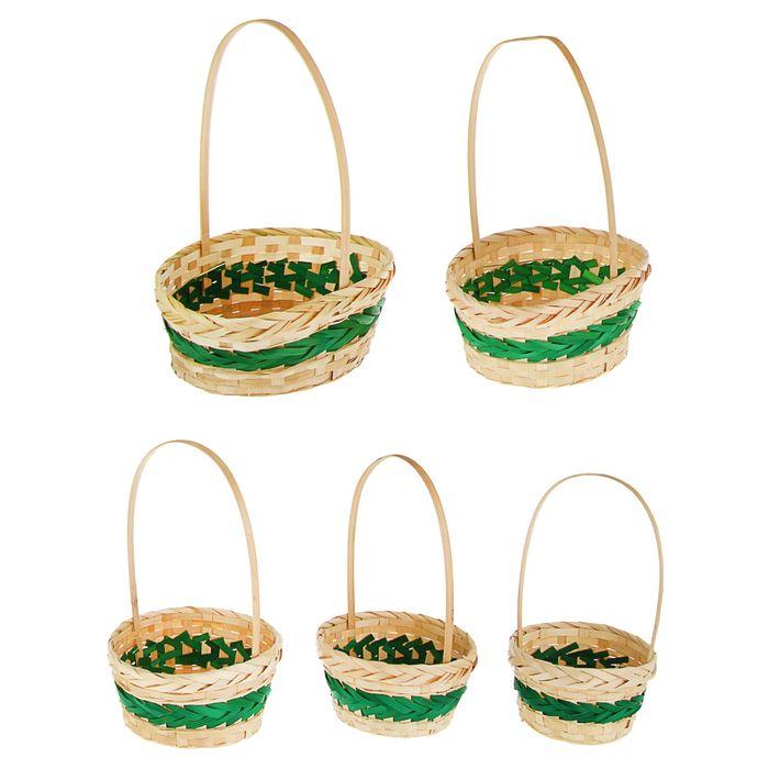 Набор корзин плетёных, бамбук, 5 шт., натуральный цвет, зелёная полоса