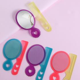 Набор 2 предмета: расчёска с ручкой, зеркало, 12см, цвет МИКС Ош