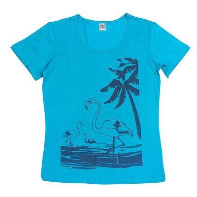 Футболка женская, цвет голубой, принт МИКС, размер 44