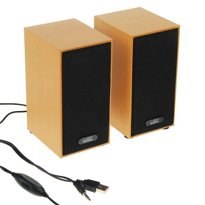 Акустическая система 2.0 CBR CMS 635 Wooden, 2х3Вт, USB, дерево