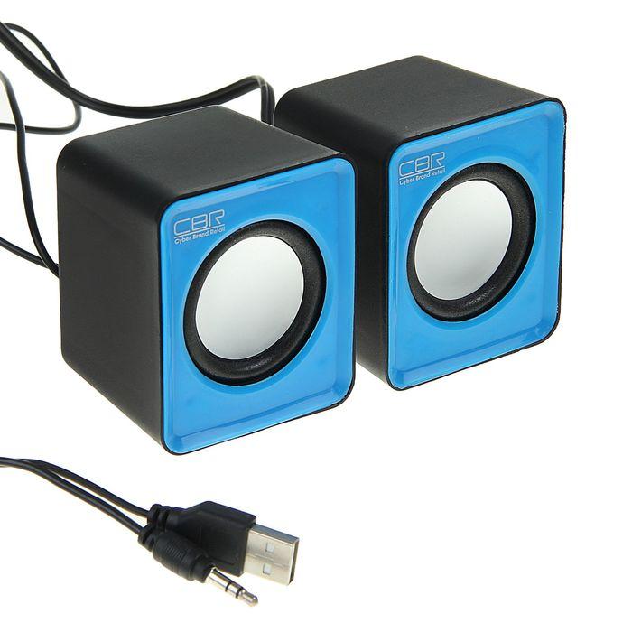 Акустическая система 2.0 CBR CMS 90, 2х1.5Вт, USB, черные-голубые