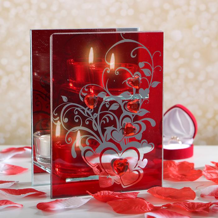 """Подсвечник на 2 свечи """"Сердца в цветах"""""""