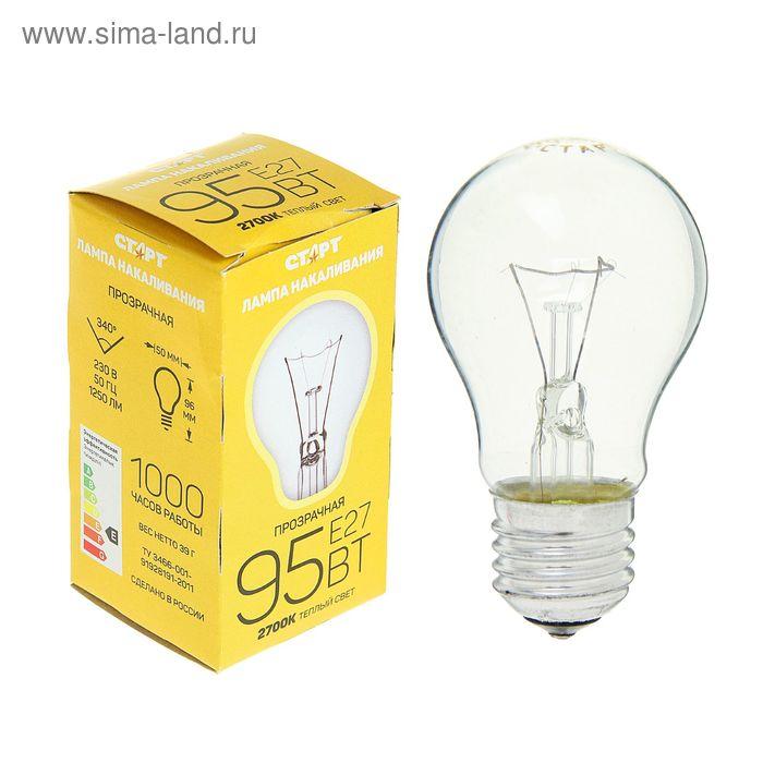 """Лампа накаливания """"Старт"""" Б, Е27, 95 Вт"""