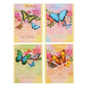 """Блокнот А6, 40 листов на скрепке """"Летние бабочки"""", картонная обложка, блок офсет, МИКС"""