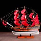 Корабль сувенирный большой «Трёхмачтовый», паруса алые, 56 х 15 х 47 см