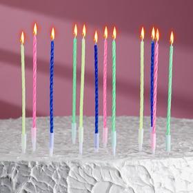Свечи в торт Коктейльные, с подставками, (набор 12 шт).