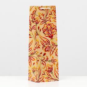 Пакет подарочный под бутылку 'Огненный цветок', 36 х 12 х 8.5 см Ош