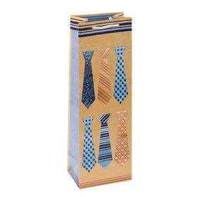 Пакет подарочный под бутылку 'Галстуки', 36 х 12 х 8.5 см Ош