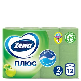 Туалетная Бумага ЗЕВА двухслойная  аромат яблока 12 рулонов