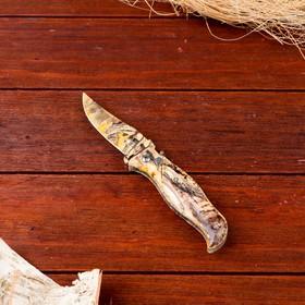 Нож перочинный лезвие clip-point 7,5см, рукоять птица хаки (фиксатор, кнопка) 17см