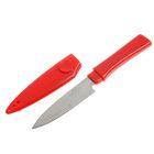 Нож нескладной в ножнах, 3 отверстия, 16,5 см, рукоять красная