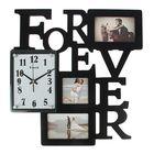 Часы настенные Forever, тёмно-коричневые + 3 фоторамки 8,5 × 8,5 см и 9 × 13,5 см (2 шт.)
