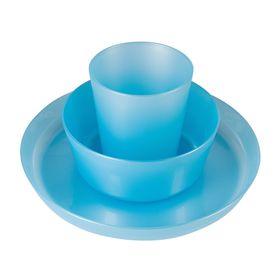 Набор детской посуды Little Angel, 3 предмета: тарелка 450 мл, миска 430 мл, стакан 270 мл, от 6 мес., цвет голубой перламутр Ош