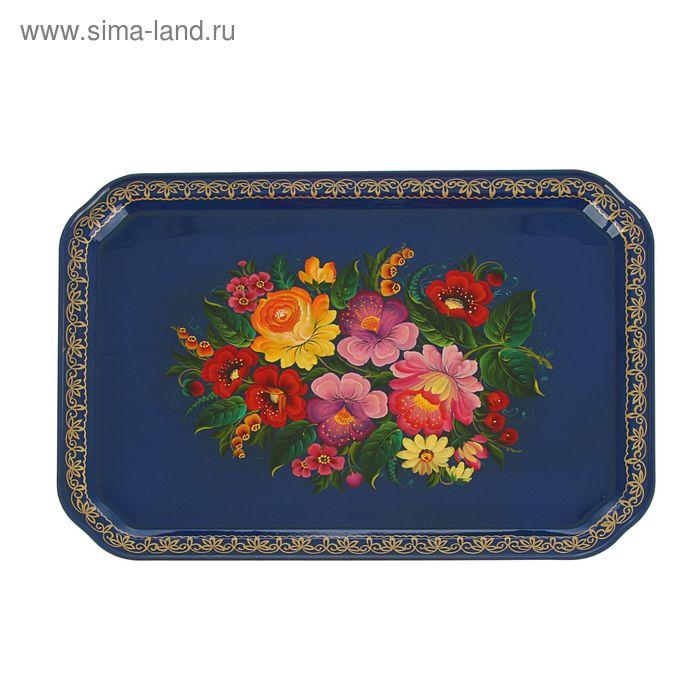 """Поднос """"Тагильская роза"""" синий фон, 32 х 45 см"""