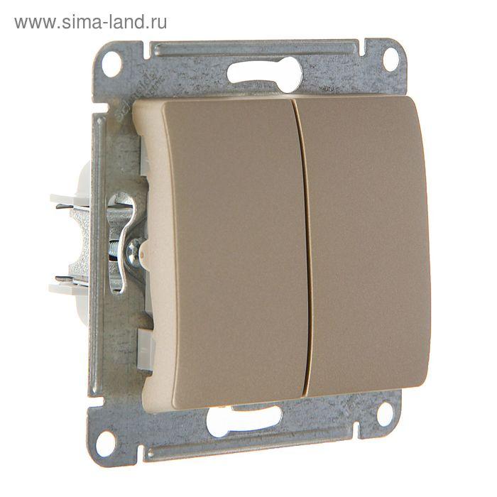 "Выключатель ""Glossa"" SchE GSL000451, 10 А, 2 клавиши, скрытый, цвет титан"