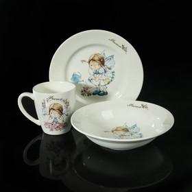 """Набор посуды """"Феечки"""", 3 предмета: тарелка 17 см, миска 250 мл, кружка 220 мл"""