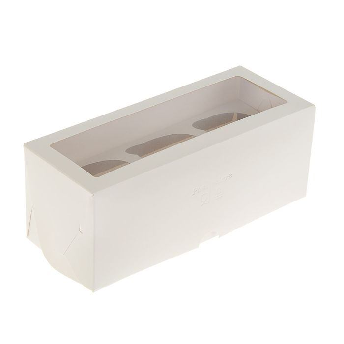 Кондитерская упаковка, короб под 3 капкейка с окном, 25 х 10 х 10 см