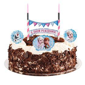 """Праздничный набор для торта """"С Днем Рождения"""" 2 свечи, Холодное сердце, 12х20 см"""