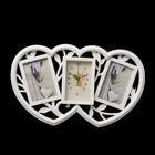 """Часы настенные """"Сердца"""", белые + 2 фоторамки 10 × 15 см"""