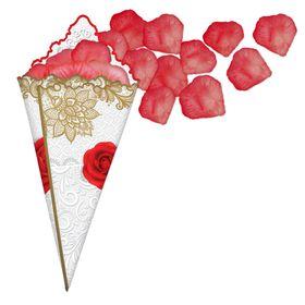 Лепестки роз с кульком, тёмно-красный