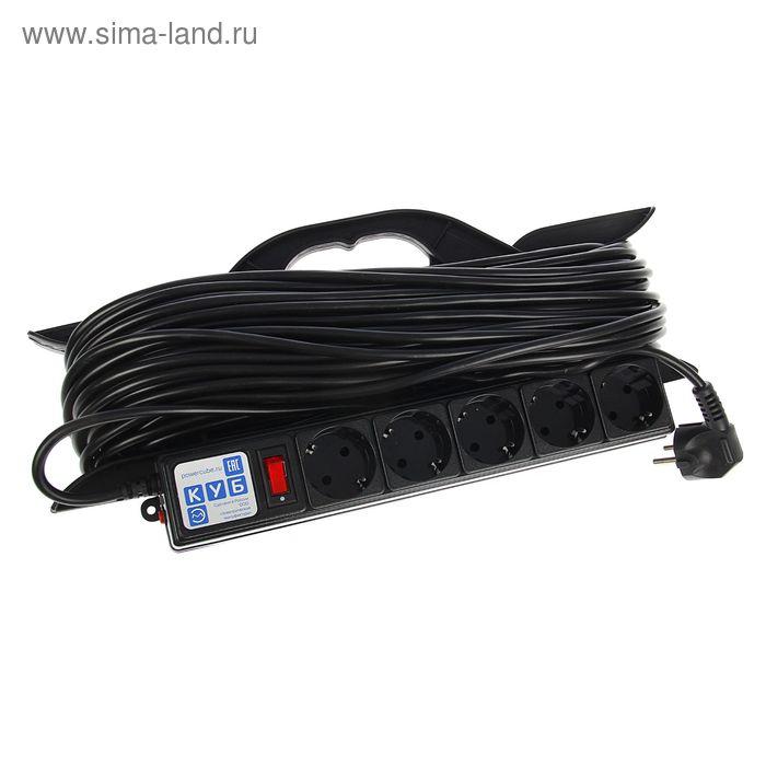 Удлинитель на рамке PowerCube, 5 розеток, 40 м, 16 А, 3500 Вт, PC-LG5-R-40