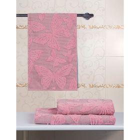 Полотенце махровое 50х90  Баттерфляй розовый, 500 гр/м2, хл 100%