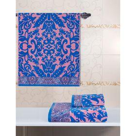 Полотенце велюровое 34х76 Гоа розовый/синий, 500 гр/м2, хл 100%