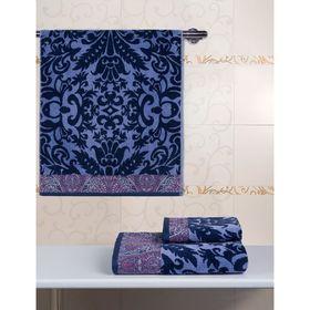 Полотенце велюровое 34х76 Гоа синий/фиолетовый, 500 гр/м2, хл 100%