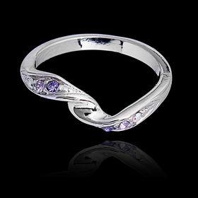 """Кольцо """"Бланманже"""", размер 17, цвет фиолетовый в серебре"""