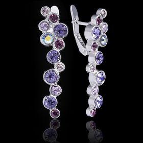 """Серьги """"Меренга"""", цвет фиолетовый в серебре"""