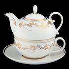 """Сервиз чайный """"Эгоист"""", 3 предмета: чайник 450 мл, чашка 350 мл, блюдце 16,5 см, золотая отводка"""