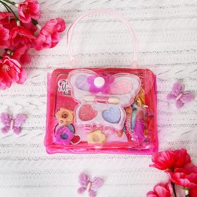 "Набор косметики для девочки ""Бабочка"": тени, аппликатор, лак, помада, заколочки"