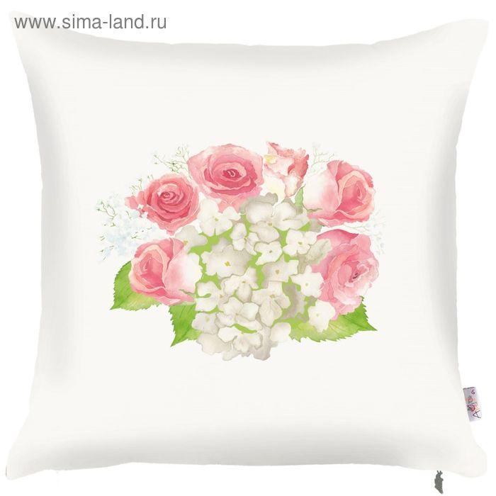 Чехол для декоративной подушки Hydrangea light, размер 43х43 см, цвет розовый